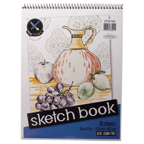 """My Ideas® Sketch Book, Drawing Paper, Top Wire 9"""" x 12"""", 30 sheets"""