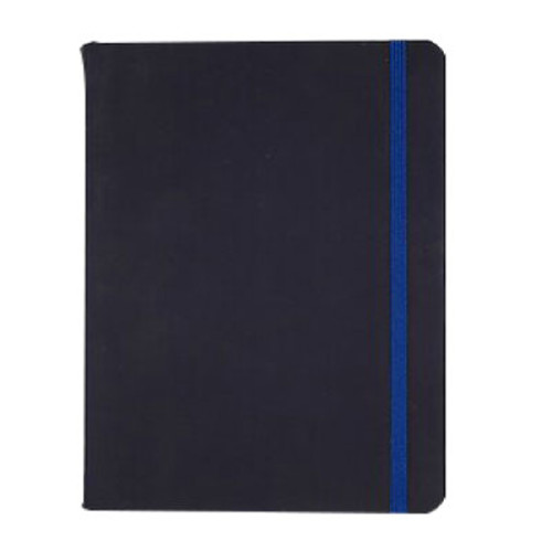 Leatherette Journal Notebook, Dot Grid Ruled, 120 Sheets, Navy