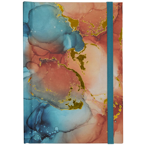 Coral Blue Hardcover Casebound Journal with Bungee Closure, Lined, 96 Sheets