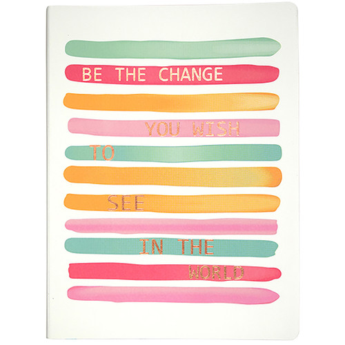 Be The Change Soft Touch Journal, Lined, Rose Gold Paper Edges, 120 Sheets