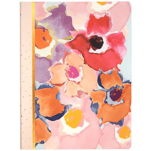 Watercolor Floral Soft Touch Journal, Lined, Copper Foil Paper Edges, 120 Sheets