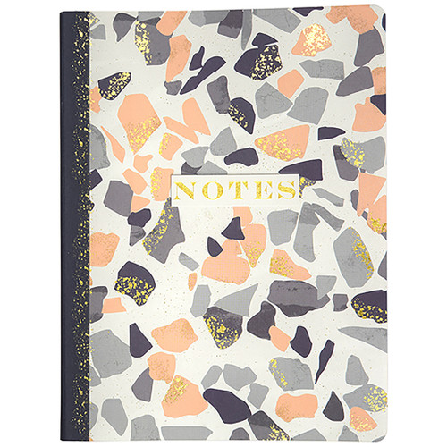Terrazzo Soft Touch Journal, Ivory Lined Paper, Gold Foil Paper Edges, 120 Sheet