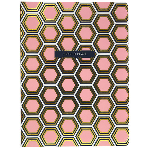Hexagon Soft Touch Pink Journal with Gold Foil, Dot Grid Ruled, 120 Sheets