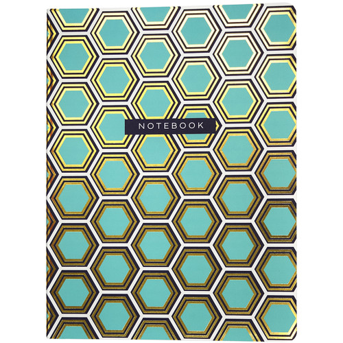 Hexagon Soft Touch Blue Journal with Gold Foil, Dot Grid Ruled, 120 Sheets