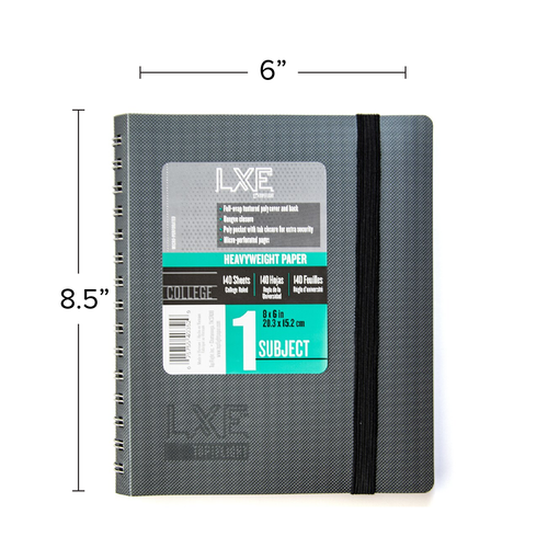 """LXE® Medium 1 Subject Poly Wirebound Notebook, Heavyweight 20 lb. Paper, College Ruled, 8"""" x 6.5"""" 140 Sheets"""