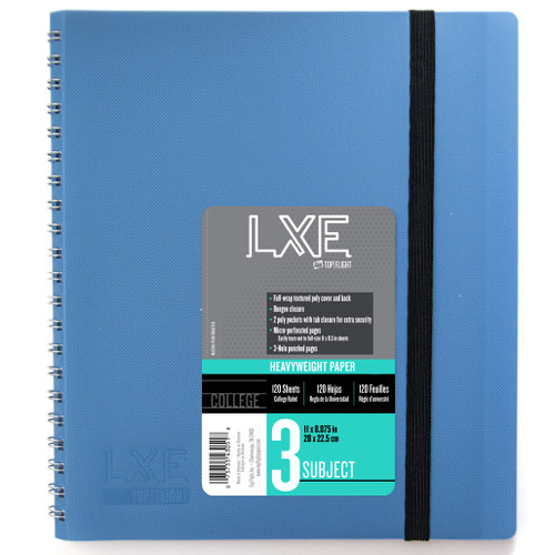 LXE® 3 Subject Poly Wirebound Notebook, Heavyweight 20 lb. Paper, College Ruled, 120 Sheets