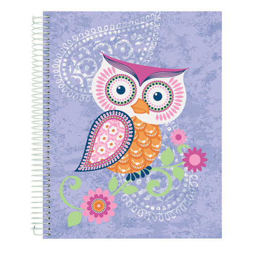 Flying Beauties, Owl, Wirebound Journal Notebook, Hard Vinyl Cover, Heavyweight Color Edge Paper, 140 Sheets