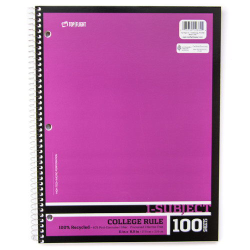 Recycled 1 Subject Wire bound Notebook, College Rule, 30% Post-Consumer Waste pages, 100 Sheets