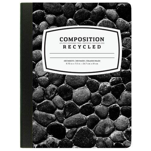 Recycled Composition Notebook, 40% Post-Consumer Waste Pages, College Ruled, 100 Sheets, Black & White