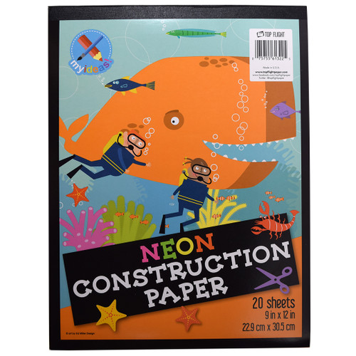 """My Ideas® Neon Construction Paper Pad, Assorted Colors 9"""" x 12"""", 20 Sheets"""