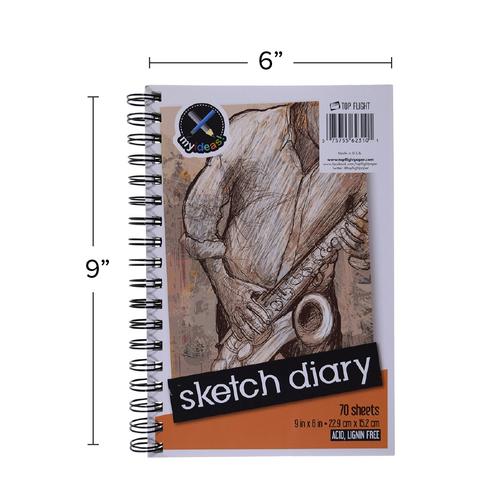 """My Ideas® Wirebound Sketch Diary 9"""" x 6"""" 70 Sheets"""