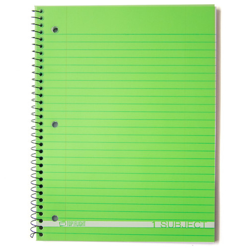 Boss® 1 Subject, Poly Cover Wirebound Notebook, Wide Rule, 90 Sheets