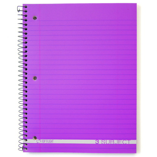 Boss® 3 Subject, Poly Cover Wirebound Notebook, Wide Rule, 138 Sheets