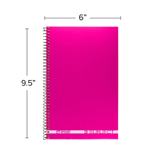 """Boss® 3 Subject, Poly Cover Wirebound Notebook, Wide Rule, 9.5"""" x 6"""", 108 Sheets"""