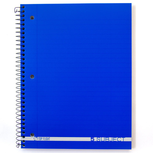 Boss® 5 Subject, Poly Cover Wirebound Notebook, Wide Rule, 180 Sheets
