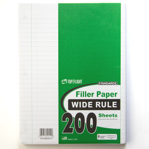 """Standards® Filler Paper, Wide Ruled, 3 Hole Punched, 10.5"""" x 8"""", 200 Sheets"""