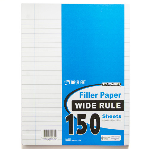 """Standards® Filler Paper, Wide Ruled, 3 Hole Punched, 10.5"""" x 8"""",150 Sheets"""