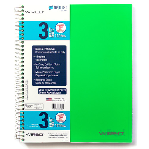 WIRED® 3 Subject Poly Cover Wirebound Notebook, Heavyweight 20 lb. Paper, College Ruled, 120 Sheets