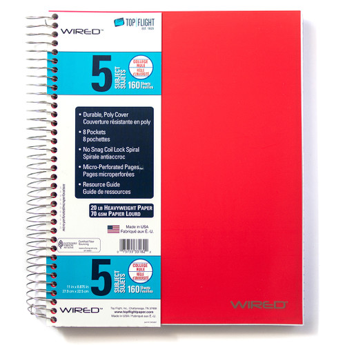 WIRED® 5 Subject Poly Cover Wirebound Notebook, Heavyweight 20 lb. Paper, College Ruled, 160 Sheets