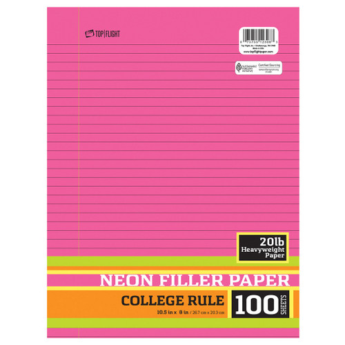 """Neon Filler Paper, College  Rule, 3 Hole Punched, 10.5"""" x 8"""", 100 sheets, Assorted Colors"""
