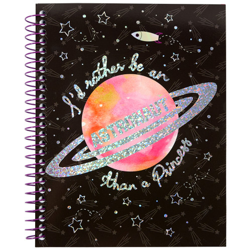 Starry Night Astronaut Princess, Journal Wirebound Notebook, Ruled, 140 Color Edge Sheets, Prismatic Foil Design