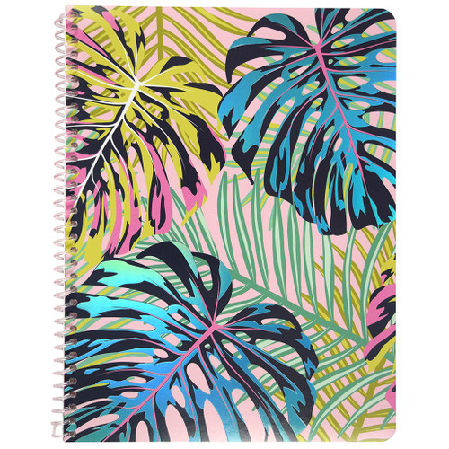 Uptown Girl Palms Wirebound Notebook, Wide Rule, 70 Sheets, Iridescent Foil Accent