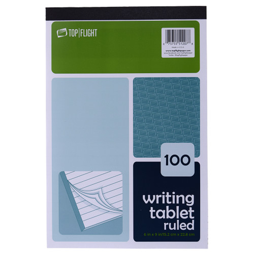 """Writing Tablet, 6"""" x 9"""", Ruled, 100 Sheets, White"""