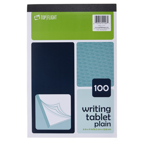 """Writing Tablet, 6"""" x 9"""", Unruled, 100 Sheets, White"""