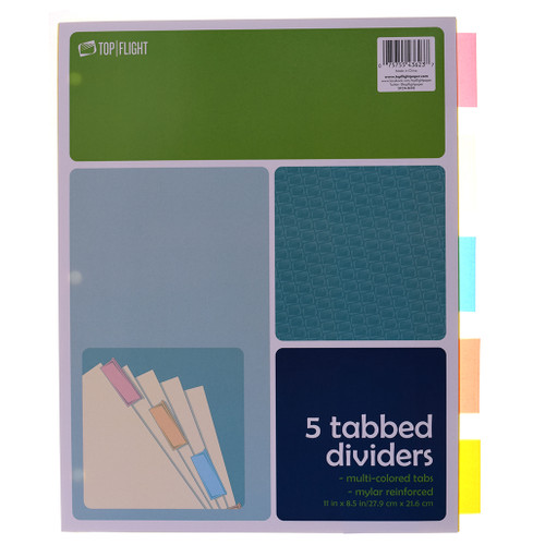 Tab Dividers, 3 Holes, 5 Assorted Colors