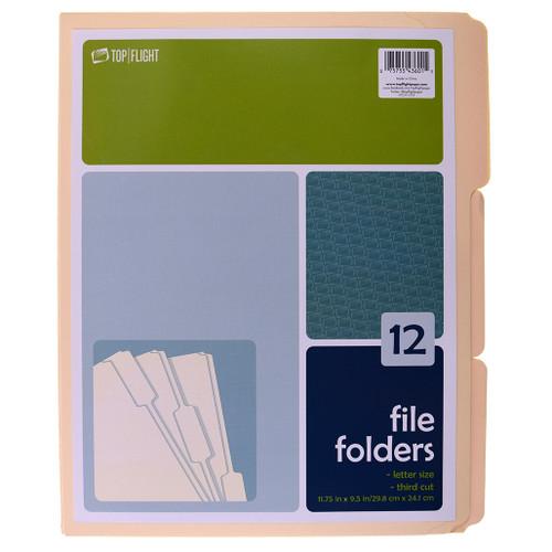 Manilla File Folder, 1/3 Cut Tab, 12 Folders Per Pack