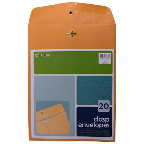 "Kraft Envelopes, Double Prong Clasp, Gummed, 9"" x 12, 20 pack"
