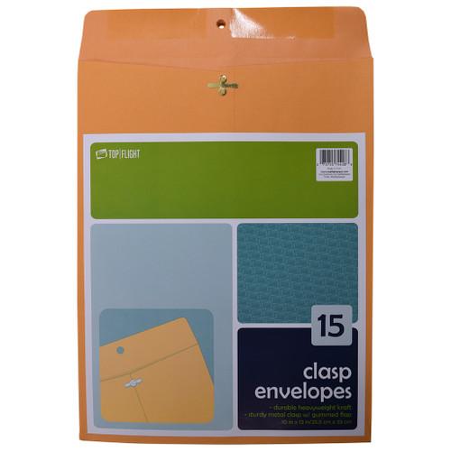 "Kraft Envelopes, Double Prong Clasp, Gummed, 10"" x 13"", 15 pack"
