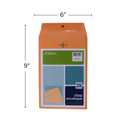 "Kraft Envelopes, Double Prong Clasp, Gummed, 6"" x 9, 25 pack"