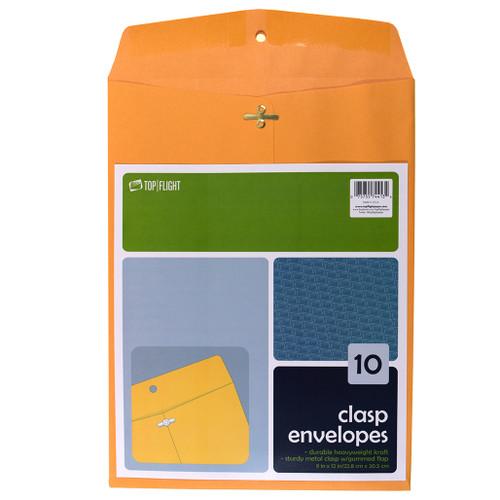 "Kraft Envelopes, Double Prong Clasp, Gummed, 9"" x 12"", 10 Pack"