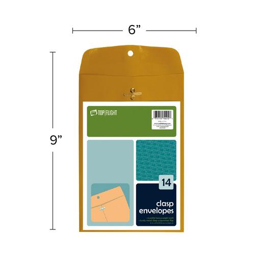 "Kraft Envelopes, Double Prong Clasp, Gummed, 6"" x 9"", 14 pack"