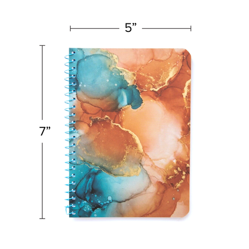 """Lily & Huck Marbled Coral & Blue Personal Notebook, College Rule, 7"""" x 5"""", 100 Sheets"""