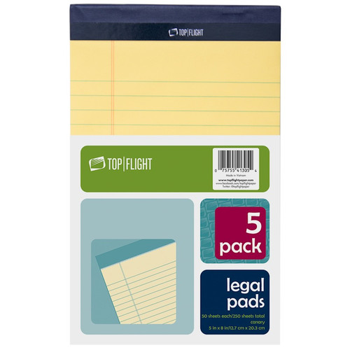 """Legal Pad, 5"""" x 8"""", 50 sheets per pad, Canary Yellow, 5 Pads Per Pack"""