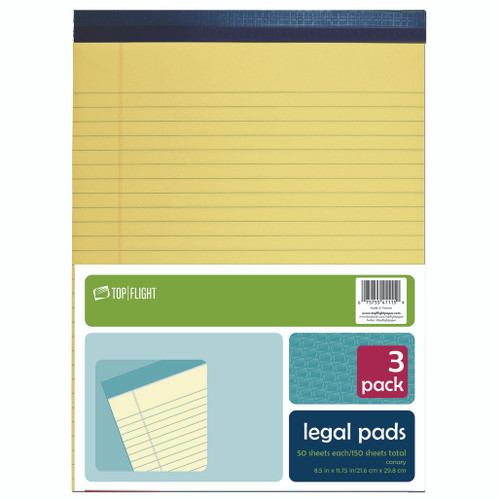 """Legal Pad, 8.5"""" x 11.75"""", 50 Sheets, Canary Yellow, 3 Pads Per Pack"""