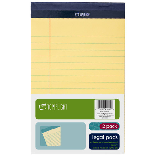 """Legal Pad, 5"""" x 8"""", 50 sheets per pad, Canary Yellow, 2 Pads Per Pack"""