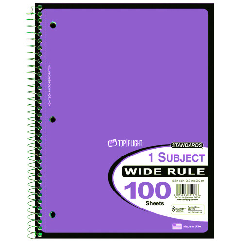 Standards® 1 Subject, Wirebound Notebook, Wide Rule, 100 Sheets