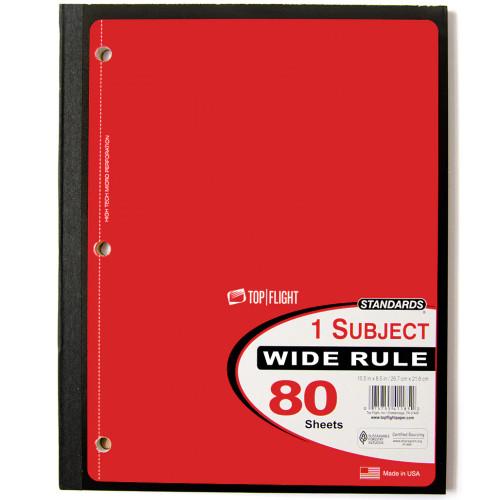 Standards® 1 Subject, Wireless Notebook, Wide Rule, 80 Sheets