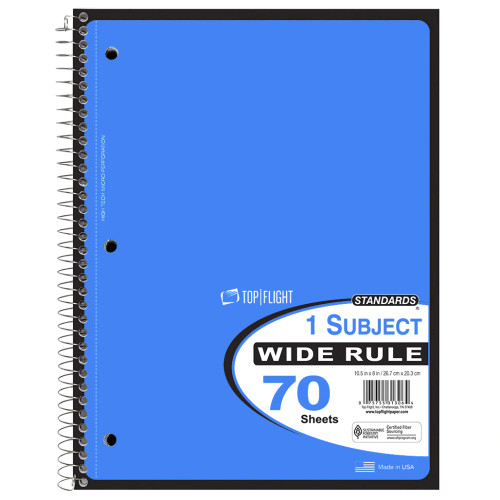 Standards® 1 Subject, Wirebound Notebook, Wide Rule, 70 Sheets