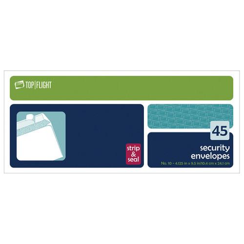 Strip & Seal Security Envelopes, #10, Boxed, 45 per Box