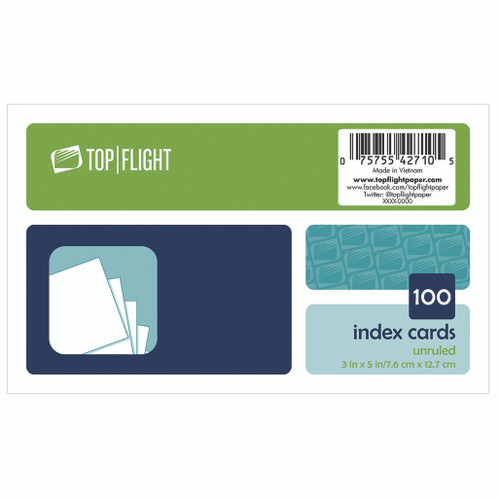 """Index Cards, 3"""" x 5"""", Unruled, White, 100 Cards"""
