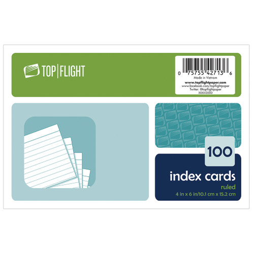 """Index Cards, 4"""" x 6"""", Ruled, White, 100 Cards"""