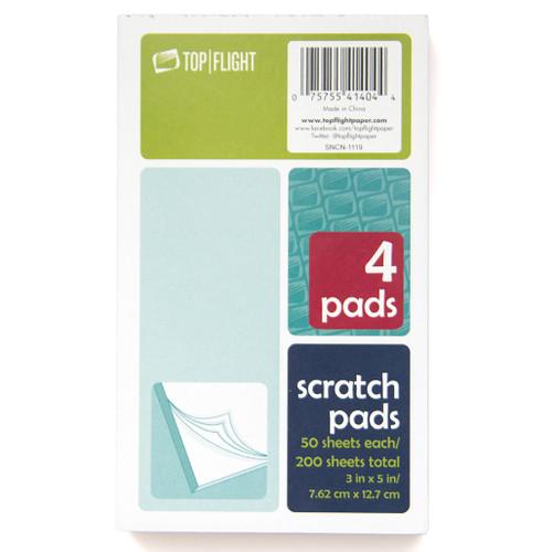 "Scratch Pad, 3"" x 5"", 50 Sheets per Pack, 4 Packs, White"