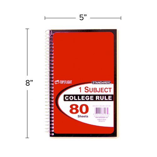 """Standards® 1 Subject, Wirebound Notebook, College Rule, 8"""" x 5"""", 80 Sheets"""