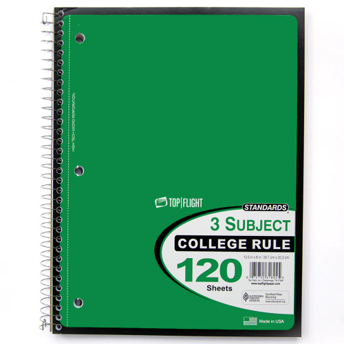 Standards® 3 Subject, Wirebound Notebook, College Rule, 120 Sheets