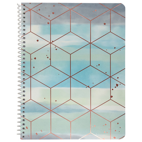 Watercolor Geo, Cubes Wirebound Notebook, Wide Rule, 70 Sheets, Rose Gold Foil Accent