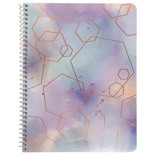 Watercolor Geo Hexagons, Wirebound Notebook, Wide Rule, 70 Sheets, Rose Gold Foil Accent